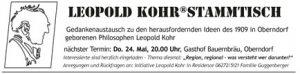 Leopold Kohr, Stammtisch, Oberndorf, Bauernbräu, Gedankenaustausch, Regionen, regional