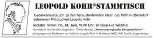 Stammtisch, Leopold Kohr, Gedankenaustausch, Oberndorf, Philosoph, Leopold Kohr Akademie, Salzburg, regionale Bierspezialitäten