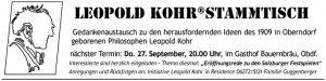 Leopold Kohr Stammtisch, Oberndorf, Gedankenaustausch, Philosophie