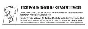 Leopold Kohr Stammtisch, Oberndorf, Salzburg, Leopold Kohr, Veranstaltung, Gedankenaustausch, Philosophi, Small is beautiful, Klein sein, Günter Lepperdinger, Forschung