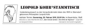 Leopold Kohr Stammtisch, Februar, Oberndorf, Salzburg, Gedanken zu Über Grenzen denken - Eine Ethik der Migration, Julian Nida-Rümelins