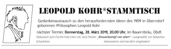 Leopold Kohr Stammtisch März, Oberndorf bei Salzburg. Gedankenaustausch. Furche - Text. Leopold Kohr in Residence